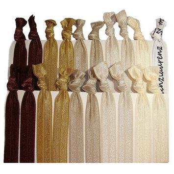 Kenz Laurenz Hair Ties Ponytail Holders – Brown Ombre (20 Pack)