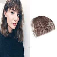 HIKYUU Thin Neat Remy Hair Bangs Hair Piece Dark Brown Bangs without Temples One Piece of Air Fringes Clip in Remy Brazilian Human Hair Extensions