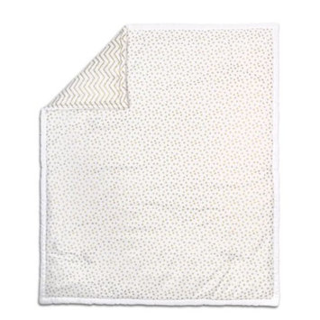 The Peanut Shell Baby Crib Quilt - Metallic Gold Dot and Zig Zag Chevron - 100% Cotton Sateen Fabrics, 44 by 37 Inches