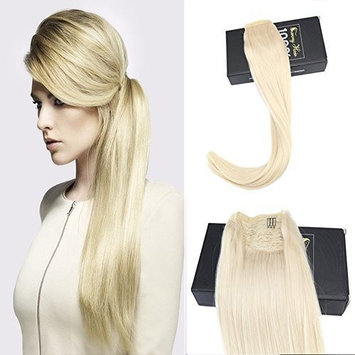 Sunny 16 inch Clip On Ponytail Extension White Blonde 100% Human Hair Ponytail Wrap around Extension Real Hair 80g/set []