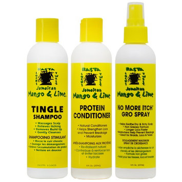 Jamaican Mango & Lime Shampoo + Conditioner + No More Itch Regular 8oz 'Set' (Pack of 3)