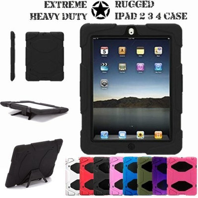 TECHGEAR® Apple iPad 4 3 2 Tough Rugged HEAVY DUTY Shock Proof Long Survival Protective Case with Detachable Stand - Kids Schools Builders Workman Case