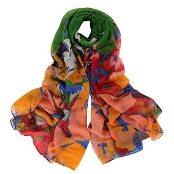 Datework Women Long Soft Wrap Shawl Multi-colored Voile Scarf