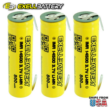 3pc IMR 14500 LiMN 800mAh Rechargeable High Drain Battery With TABS