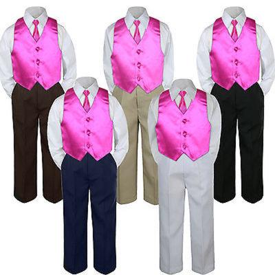 4pc Fuchsia Hot Pink Vest & Tie Suit Set Baby Boy Toddler Kid Uniform S-7