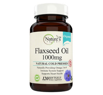 Nature's Potent - Organic Flaxseed Oil 1000 Mg, Natural Cold Pressed