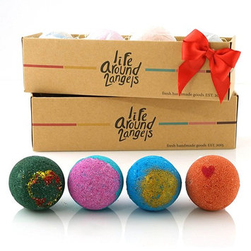 LifeAround2Angels Bath Bombs Gift Set 4 USA made Fizzies, Shea & Coco Butter Dry Skin Moisturize, Spa Kit add to Bubble Bath. Handmade Birthday Gift For Her, women gift sets, Fathers day gifts