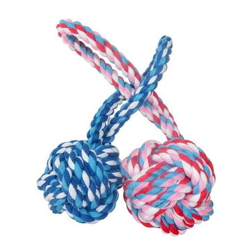 Sandistore Puppy Dog Cat Pet Toy Cotton Braided Knot Rope Chew Knot Chewing Toy
