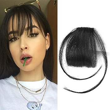Jet Black Clip in/on Bangs Remy Human Hair Bangs with Temples Bang Hairpiece Clip-on Front Fringes