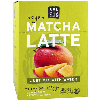 Sencha Naturals, Matcha Latte, Tropical Mango, 12 Stick Packs, 1 oz (30 g) Each [Flavor : Tropical Mango]