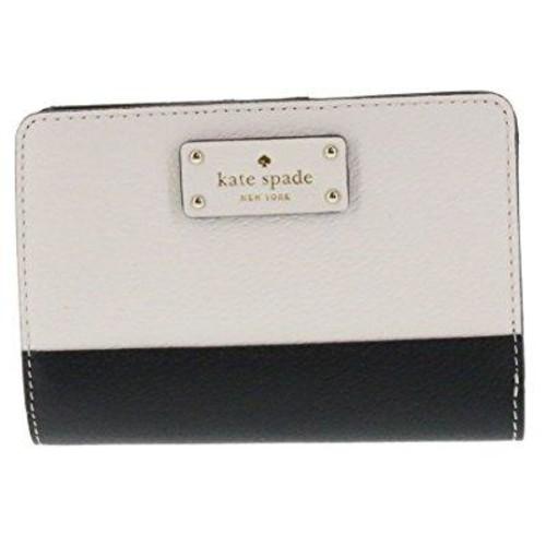 kate spade new york tellie grove street embossed leather wallet (black/cement)