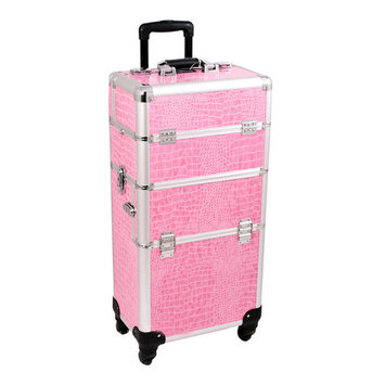 Craft Accents Outdoor Travel Professional Cosmetic Holder Pink Crocodile Texture Trolley Makeup Case