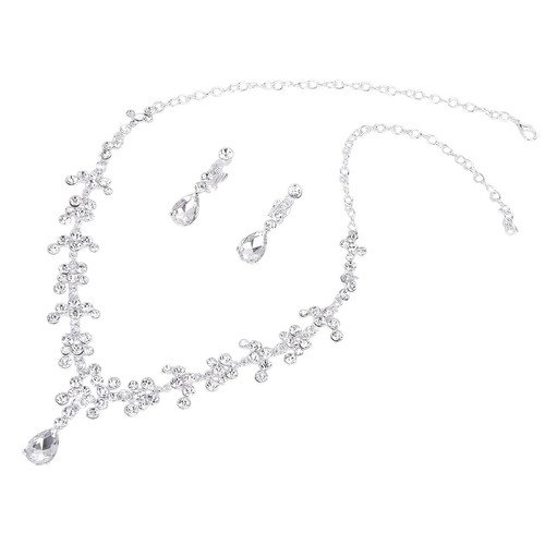 PIXNOR Wedding Party Rhinestone Decorated Necklace Earrings Set (Sliver)