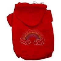Mirage Pet Products Rhinestone Rainbow Hoodies, Size 10, Red