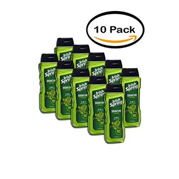 PACK OF 10 - Irish Spring Signature for Men 3-in-1 Body + Hair + Face Wash 15fl oz