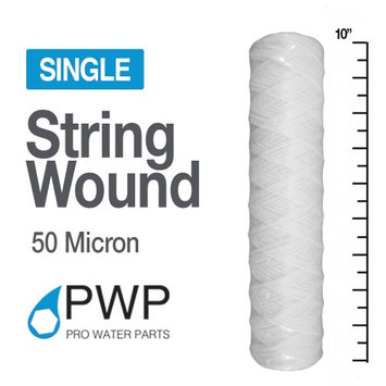 Pro Water Parts PWP String Wound Sediment Water Filter Polyproylene 2.5 x 10 In 50 Micron 1 Piece