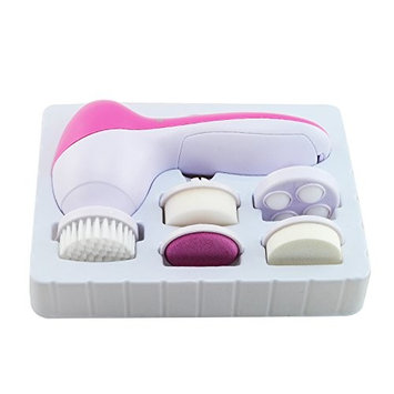5 In 1 Deep Clean Electric Facial Cleaner Face Spa Skin Care Brush Facial Spin Brush for Microdermabrasion and Deep Scrubbing