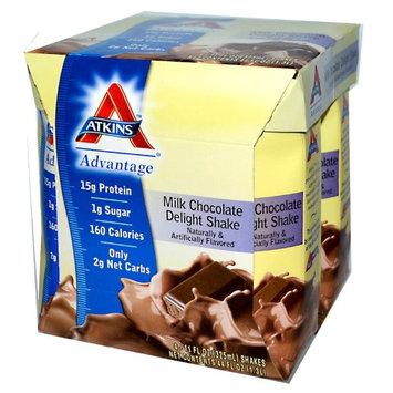 Atkins, Advantage, Milk Chocolate Delight Shake, 4 Shakes, 11 fl oz (325 ml) Each(pack of 6)