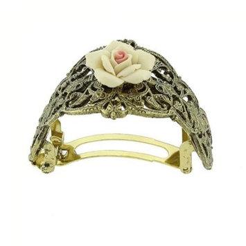 Gold-tone Porcelain Rose Ponytail Holder