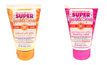 Glitter Nation Super Sparkle Screen Sparkling Pink Glitter Strawberry Scented Sunscreen And Sunkissed Gold Tangerine Orange Scented Sunscreen Set of Two