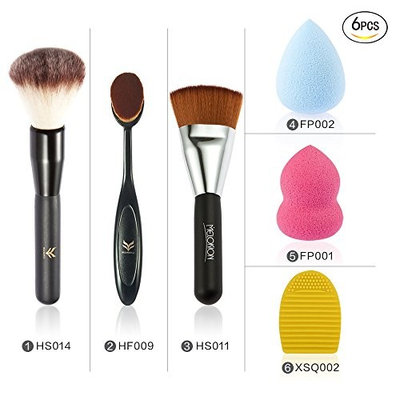 Healthcom Makeup Brush Sets Face Brushes Personal Foundation Brushes Kabuki Foundation Blending Blush with Sponge Puff and Brush Clean Egg,Pack of 6