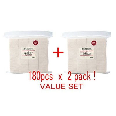 MUJI Makeup Facial Soft Cut Cotton Unbleached 60x50 mm 180pcs2 Packs (Total 360 Sheets) Value Set by MUJI