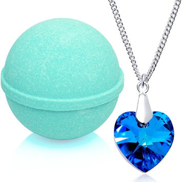 Tranquil Serenity Bath Bomb with Necklace Created with Swarovski Crystal Extra Large 10 oz. Made in USA