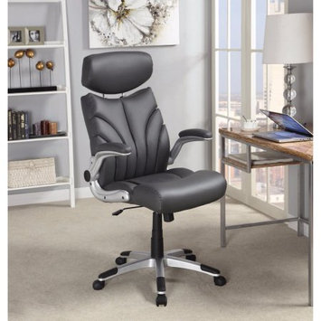 Benzara Leather, Designer Executive Chair with Adjustable Headrest, Gray