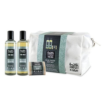 Faith In Nature Blue Cedar Wash Bag Gift Set
