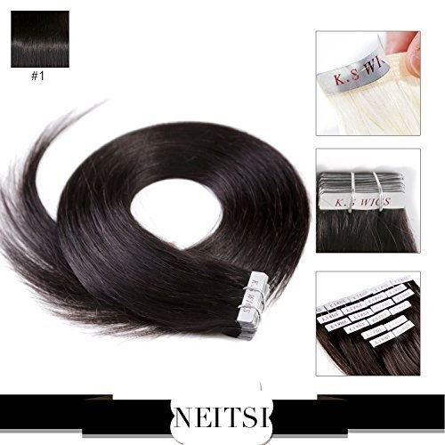 "Neitsi 20"" Jet Black 100g 40pcs/lot Tape in Human Hair Weft Extension Straight #1"