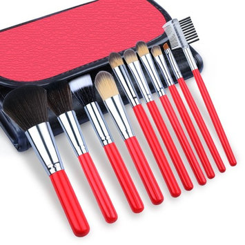 Makeup Brushes, BEAUTING Makeup Brushes Kit 10 Pieces Premium Synthetic Kabuki Foundation Oval Face Eyeshadow Cosmetics Blending Brush Tool With Leather Bag