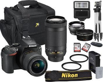 Nikon D5600 24.2 MP DSLR Camera + 18-55mm VR Lens Kit +70-300mm DX AF-P Zoom Lens+ Accessory Bundle + 2X 32GB Memory + Camera Bag + Wide Angle Lens + 2x Telephoto + Flash + Tripod + Filters + More