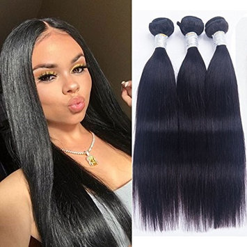 BINF Hair Brazilian Straight Virgin Hair 100% Unprocessed Brazilian Human Hair 3 Bundles 10 10 10 Natural Color Brazilian Straight Hair Weave