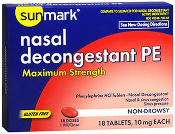 Sunmark Nasal Decongestant Pe Maximum Strength, 10 mg, 18 tabs by Sunmark
