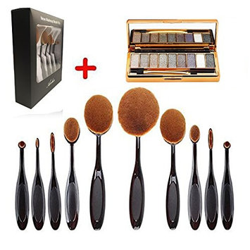 Make up brush set , Aooher Professional Soft Oval Toothbrush Makeup Sets and 9 Color Glitter Eyeshadow Palette Kit With Mirror