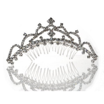 SC Rhinestone Princess Tiara Comb With Four-Crystal Center 38885 by SparklyCrystal