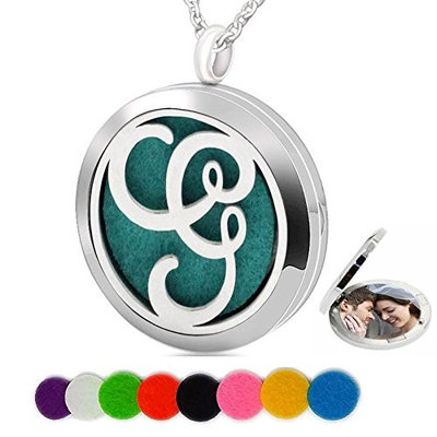Essential Oil Necklace Aromatherapy Diffuser Pendant Letter G Round Kids Boys Picture Locket for Women