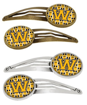 Letter W Football Black, Old Gold and White Set of 4 Barrettes Hair Clips CJ1080-WHCS4