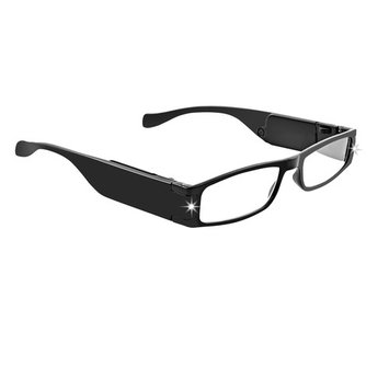 LightSpecs LightWeight Reading Glasses with LED lights +2.75 Power, Black, w/Tube Case