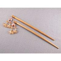 Brown star dangle bead beaded starfish hair chop sticks picks pins 7 long