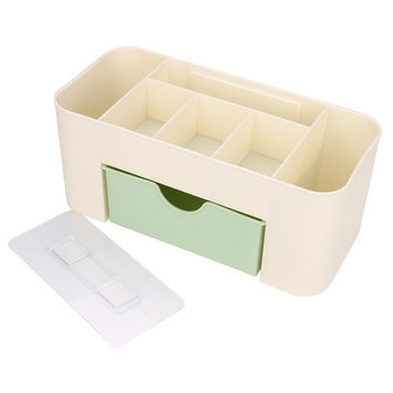 Plastic Bathroom Shower Makeup Skincare Organizer Case Wall-mounted Basket Holder With Drawer (D)
