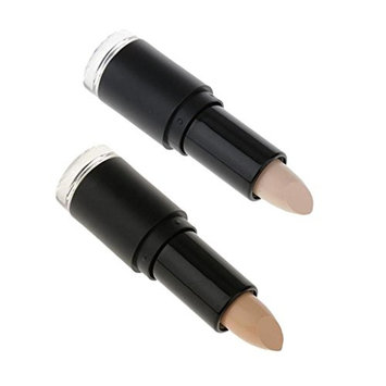 MagiDeal Set of 2 Professional Cosmetic Makeup Face Eye Foundation Concealer Corrector Highlighter Contour Sticks Highlight Cream Stick Light Shimmer White Medium Nude