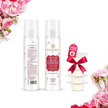 Rose Water Spray 8 oz, MagiForet Rose Water Toner Spray, 100% Organic Distilled Rose Hydrosol Therapeutic Grade Rose Water for Face Hair Acne Rosewater Facial Spray Alcohol Free with Face Mask