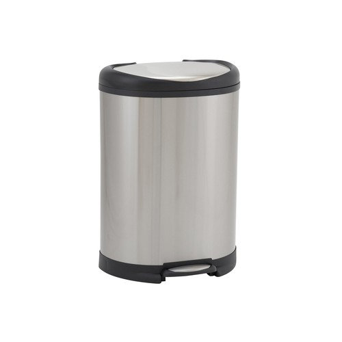50L Oval Step Bin, Stainless Black Trim