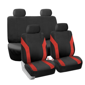 Fh Group Car Seat Covers Red Black Full Set for Auto w/ 4 Head Rests