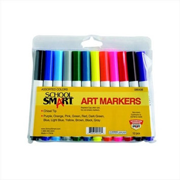 School Smart Watercolor Markers - Chisel Tip - 12/Color Set