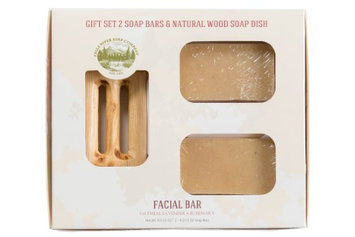 Falls River Soap Company Facial Bar - Oatmeal, Lavender & Rosemary - Handmade Organic Bar for Sensitive Skin. Moisturizing Body Soap for Skin and Face. With Shea Butter, Coconut Oil, Glycerin (GIFT SET)