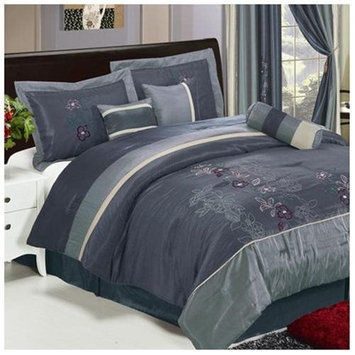 Shades of Floral Embroidered 7 Piece Comforter Set - Size: King