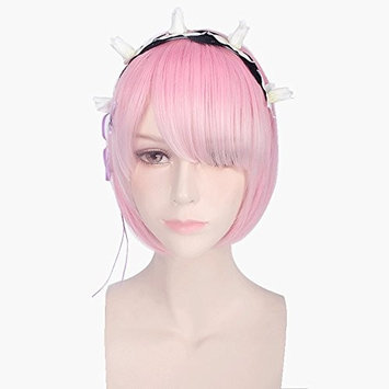 Anime Short Straight Cosplay Wig with Flower Hairpin Women Girls' Party Wigs Heat Resistant Fiber