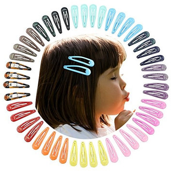 Nancyus005 48 pcs 2 Inch Snap Hair Clips, No Slip Metal Clip Barrettes for Baby Girls Toddlers Kids Hair Accessories, 12 Colors in Pairs